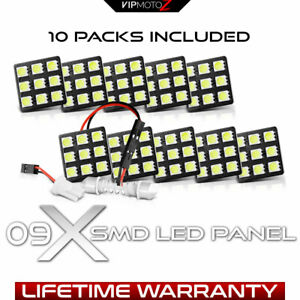 10pc Combo 1x1 Small Festoon Led Panel Bulbs T10 194 168 31mm 36mm 39mm 41mm
