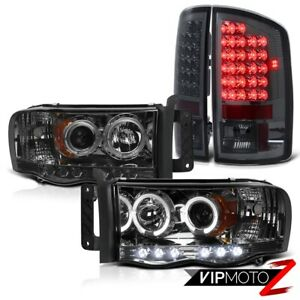 Dodge Ram 02 05 1500 2500 3500 Halo Projector L R Headlight Smoke Led Tail Light