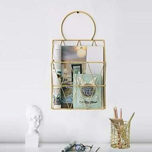 File Organizer With Pencil Cup Gold Wire Metal Document Storage Holder Magazine