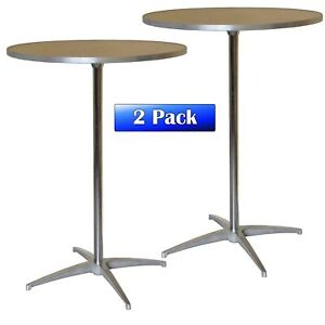 30 Round Bistro Table 2 Adjustable Height Wood Restaurant Dining Tables 2 Pack