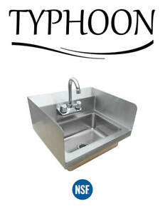 Wall Mount Hand Wash Sink Commercial Restaurant Stainless Steel Side Splashes