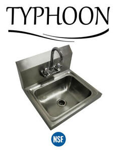 17 5 16 Wall Mount Hand Wash Sink Nsf Commercial Restaurant Stainless Steel