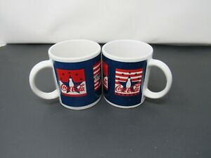 Set Of 2 Gibson Coca-Cola Mugs Cup Red White Blue Star Design 498