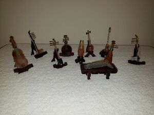 Vintage Jade Miniature Chinese Musical Instruments Set Of 10