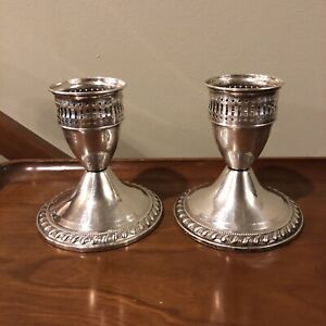 Mayflower Sterling Silver Candle Holder Weighted Pair Set Vtg Antique