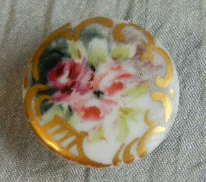Antique Porcelain Stud Button Flowers 038 B