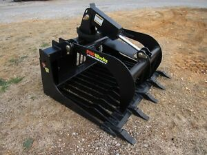 Bobcat Skid Steer Tractor Attachment 48 Hd Rock Bucket Grapple Free Ship
