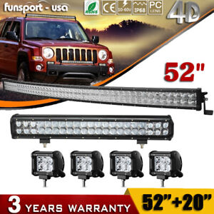 Curved Led Light Bar 52inch 20 Combo 4 Pods For Ford Jeep Truck Suv 4x4wd