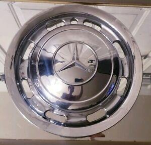 1 Vintage Oem 1950s 60s Mercedes Benz 13 Chrome One Piece Hubcap Wheel Cover
