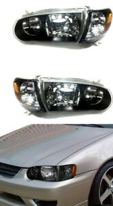 For 2000 2002 2002 Toyota Corolla Jdm Headlight Black Housing Corner Lamps Set