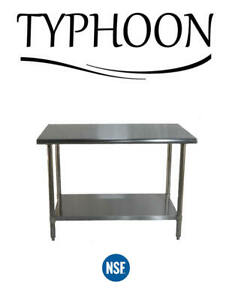 Stainless Steel Commerical Counter Work Table Adjustable Undershelf 72 X 30
