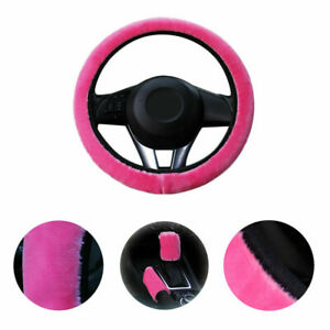 Pink Plush Car Steering Wheel Cover Furry Fluffy Us L9t4a