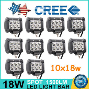 10x 18w Led Work Lights Pods Spot Offroad Lamp Atv Tractor Ute 4inch Cube Pods