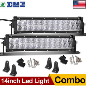 2x 14inch Led Light Bar 336w Flood Spot Offroad Driving For Jeep 4wd Rzr Atv Suv