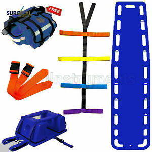 Blue Emt Backboard Spine Board Stretcher Immobilization Kit Free Trauma Bag