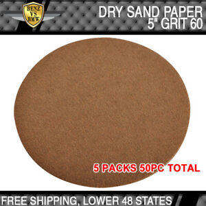 Dry 5 Inch No Hole Sand Paper Disc 60 Grit Body Repair Sanding Sandpaper 50 Pcs