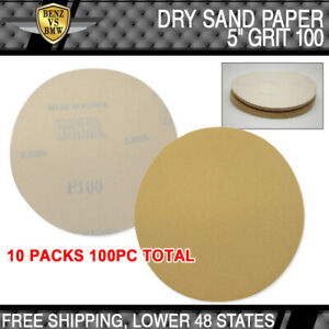 X100 Pc Dry Body Repair Sanding Disc Collision Sand Paper 100 Grit 5 Inch