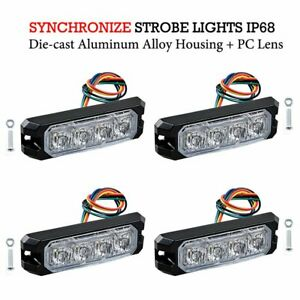 Surface Mount 20w 4 led Emergency Warning Sync Strobe Light 4pcs White Amber
