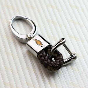 Brown Bv Style Leather Gift Decoration For Chevy Chevrolet Emblem Key Chain Ring