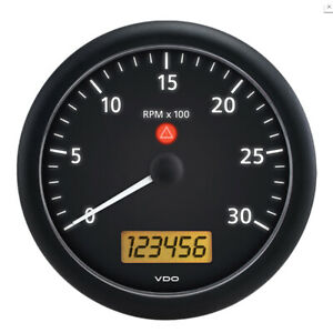 Vdo Viewline Onyx 3 000 Rpm 5 4 3 8 110mm Mounting Tachometer W 2 Hourm