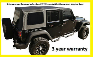 Replacement Black Soft Top Tint Windows 07 09 For Jeep Wrangler Unlimited 4 Door