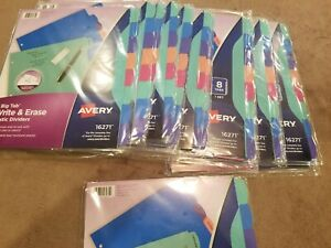 Lot Of 14 Avery 8 Big Tab Write And Erase Plastic Dividers 16271