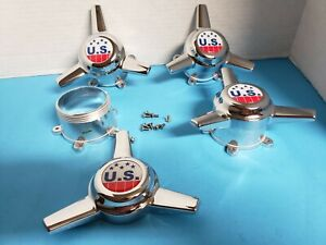 4 Caps 3 Bar Spinners Old Us Mag Wheels 2 1 8 Mounting Space Holes W Emblem