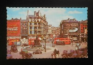 1960s Piccadilly Circus Old Double Deck Bus Cars Coca-Cola London UK Postcard