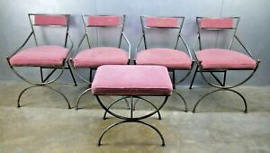 4 Fabulous Vtg Pink Mid 20th Century Iron Brass Campaign Chairs Otto 1960s Got