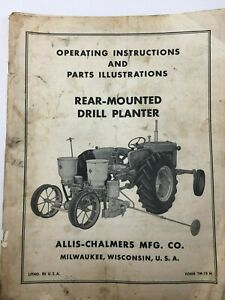 Allis chalmers Operating Parts Rear mounted Drill Planter Form Tm 18 H 1951