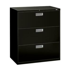 Hon Brigade 600 Series 3 Drawer Lateral Legal Or Letter File Cabinet In Black