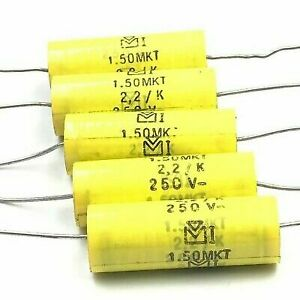 2 2uf 2200nf 250v Axial Polypropylene Capacitor Mkt Plessey Qty 5