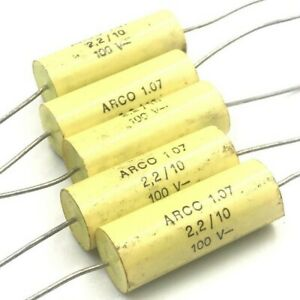 2 2uf 2200nf 100v Axial Polypropylene Capacitor Arcotronics Qty 5