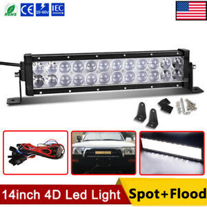 14inch Dual Row Led Light Bar Wiring Harness Spot Flood Combo For Jeep Atv Truck