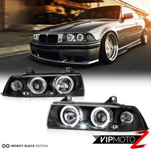 For 92 98 Bmw E36 3 Series 2 Door Coupe Black Halo Angel Eye Projector Headlight