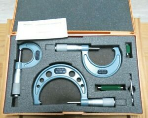 Mitutoyo Outside Micrometer Set 0 To 3 No 103 932 Carbide Japan 0001
