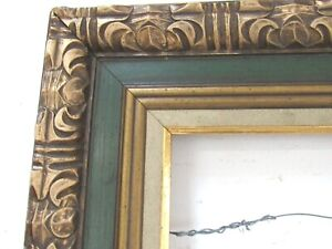 Vintage Hand Carved Gilded Green Wood Frame For Painting 20 X 16 Inch