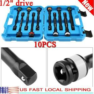 10pcs 1 2 Drive Color coded Torque Stick Limiter Extension Bar Set Crmosteel