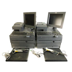 2 Ibm 4800 j22 Pos System 700 Series Retail Cash Registers W Scanner And Pads