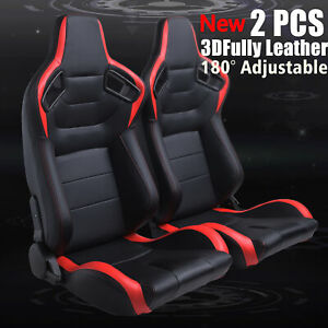 Universal 2 Pcs Pvc Racing Seats Black red Faux Leather Reclinable Bucket Seat