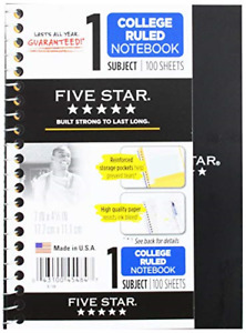 12 Pack Five Star Personal Spiral Notebook College Rule Durable Poly Front Cover