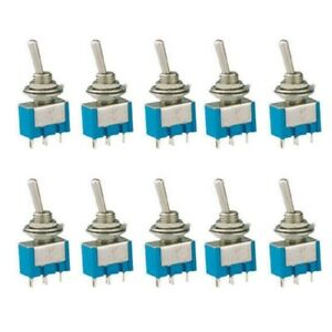 Mts 101 2 Pin Spst On off 2 Position 6a 125v Ac Mini Toggle Switches Kit 10pcs