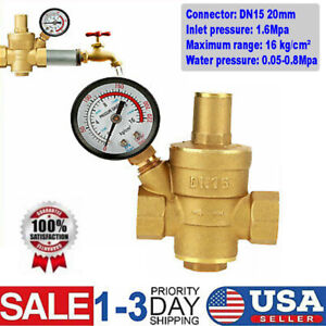 Dn15 Water Pressure Regulator Npt 1 2 Adjustable Brass Reducer Gauge Meter Us