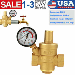Dn15 Brass Npt 1 2 Adjustable Water Pressure Regulator Reducer W Gauge Meter