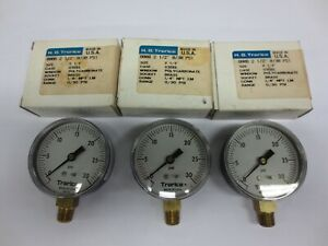 H o trerice 2 1 2 Dial Pressure Gauge 0 To 30 Psi 1 4 npt lot Of 3