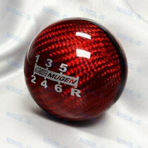 Genuine Red Carbon Mugen Shift Knob For Honda Crz Type R Accord Fa5 6 Speed Jdm