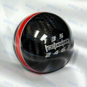 6 Speed Mugen Shift Knob For Honda Rsx Civic Type R S2000 Red Line Carbon Fiber