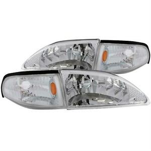 Anzo Headlights 121262 Clear W Chrome Housing 1994 1998 Ford Mustang