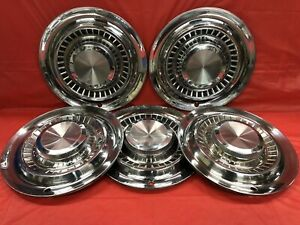 Vintage Set Of 5 1956 Pontiac 15 Hubcaps Chiefton Starchief Safari Catalina