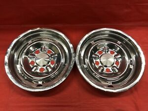 Vintage Pair Of 1963 64 Pontiac Rear 14 Hubcaps Custom Parisienne Good Cond